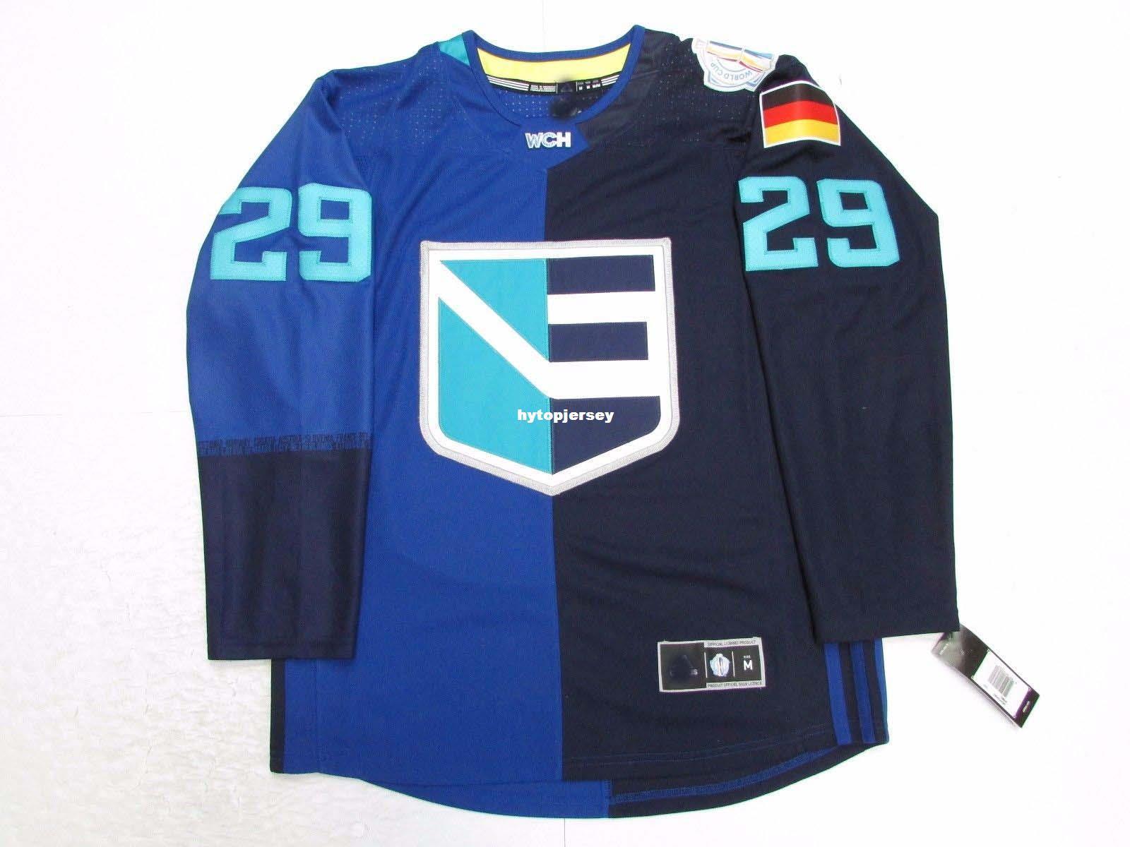 Cheap Custom Leon Draisaitl Top EUROPE BLUE World Cup of Hockey 2016 JERSEY Herren Trikots nähen