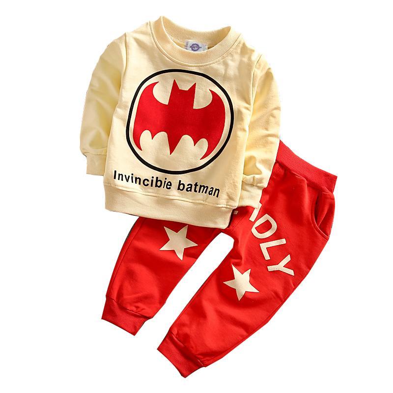 Детские Мальчики Batman Одежда Set руно Спорт Толстовка Топ и брюки Одежда малышей пижамы хлопка Batman одежды Set