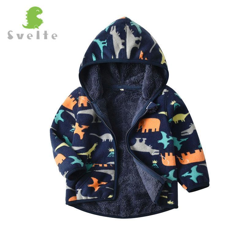 SVELTE para 2-7 Yrs Kid e menino da criança forro de pele do velo jaquetas Fluffy capuz Boy Clothes Impresso Coats para o inverno T200306