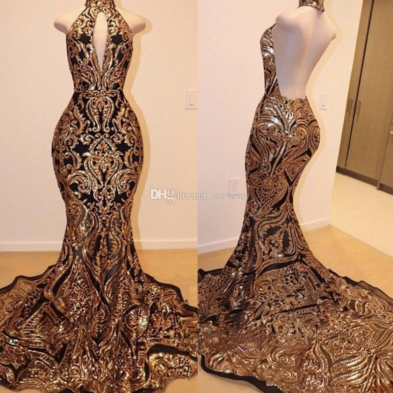 Brilliant Gold Sequined Mermaid Evening Dresses Keyhole Backless Long Celebrity Gown Plus Size Ladies Special Occasion Dress