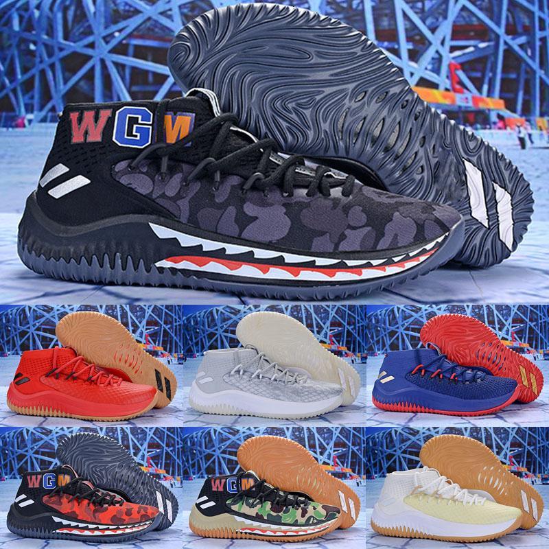 Più Nuovo Dame 4 x Shark Camo verde Uomini Scarpe Da Basket WGM Scarpe Sportive Damian Lillard 4 S qualità autentica Jiont limitata Sneakers