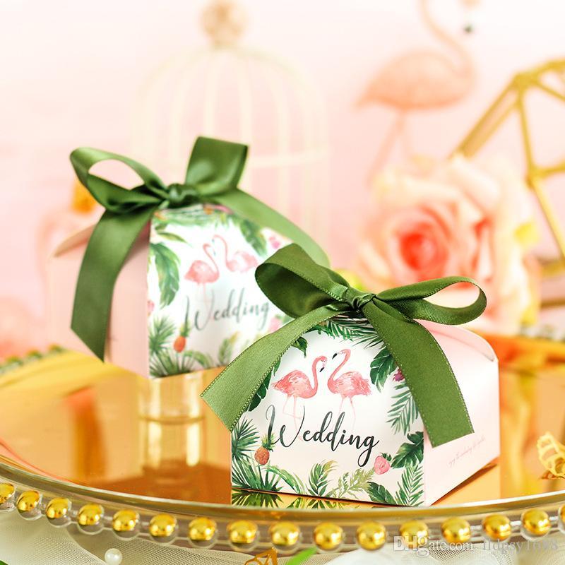 Flamingo Düğün şeker kutusu şekeri kutusu kağıt hediye çanta misafirler için ambalaj kutusu parti dekorasyon malzemeleri Ambalaj Şeker Kutuları