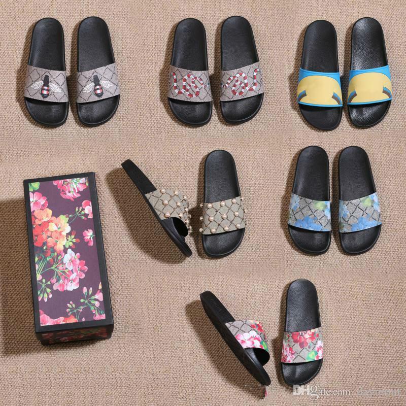 Schlangen-Print Slide Sommer Weit Flache Sandalen Slipper Männer Frauen Sandalen Designer-Schuhe mit der richtigen Blumen-Schuhe