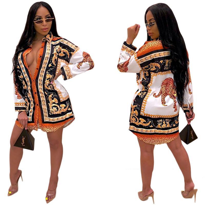 Estampado de animales para mujer vestidos casuales de la moda solo pecho manga larga para mujer diseñador de la camisa Vestidos Las mujeres Ropa