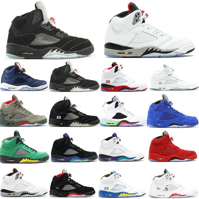 Trophy Room 5s Ice Blue Men Basketball-Schuhe 5 Laney Yellow Bred Red Suede White Cement Metallic Black Designer-Sport-Turnschuh-Größe 41-47