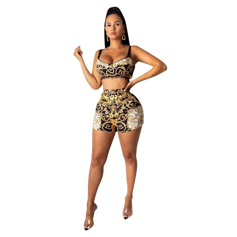 Sexy femmes Imprimer manches Crop Top + Shorts Set Vêtements dentelle Summer Beach 2 Piece Set Club de Tenues Roupas Femininas