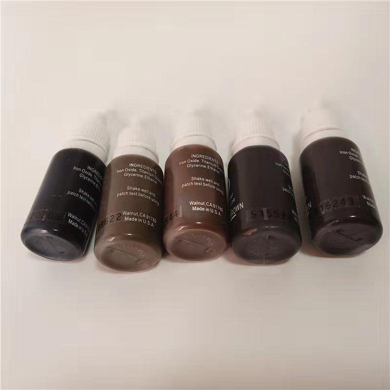 محفظة 5pcs دائم ماكياج الصباغ حبر الوشم micropigment 15ML / زجاجة مستحضرات التجميل اليدوي الحاجب 3D أسود اللون البني مزيج
