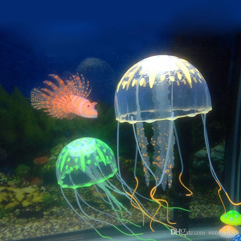 8cm Vivid Glowing Effect Fluorescent Artificial Jellyfish Aquarium Fish Tank Decoration Ornament Swim Pool Bath Decor Free Shipping ZA2250