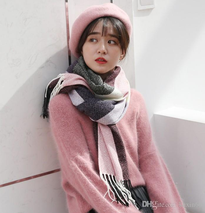 2019 new cashmere autumn and winter scarf fashion imitation cashmere tassel shawl plaid ladies long scarf