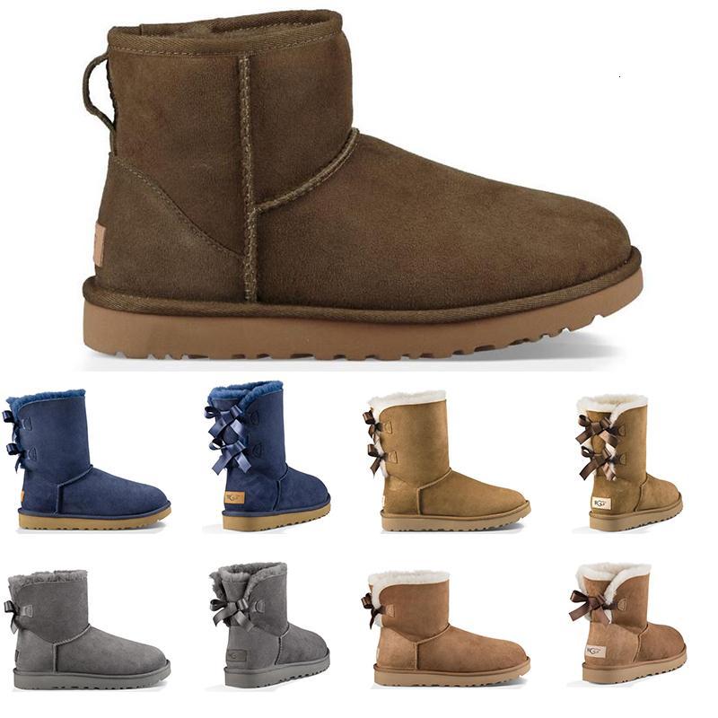 2019 Vintage Lüks Tasarımcı Avustralya Kadınlar Kış Kar Boots Klasik Bilek Diz çök Kısa Bow Kürk Boot Siyah Kestane Platformu Sneakers Ayakkabı