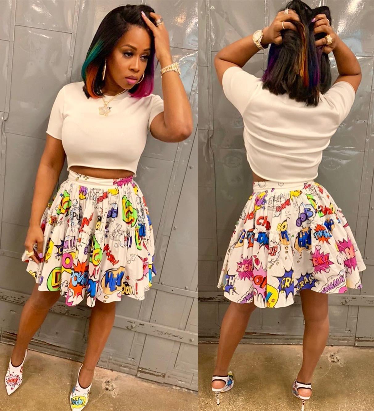 67ca915d252c8c New Summer Dresses Pleated Skirt Blossoming Fashion Cartoon Print Plus Size  Women Clothing Elastic Waist Beach Wear S-XL