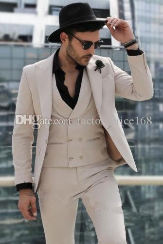Fashionable One Button Groomsmen Peak Lapel Groom Tuxedos Men Suits Wedding/Prom/Dinner Best Man Blazer(Jacket+Pants+Tie+Vest) A165