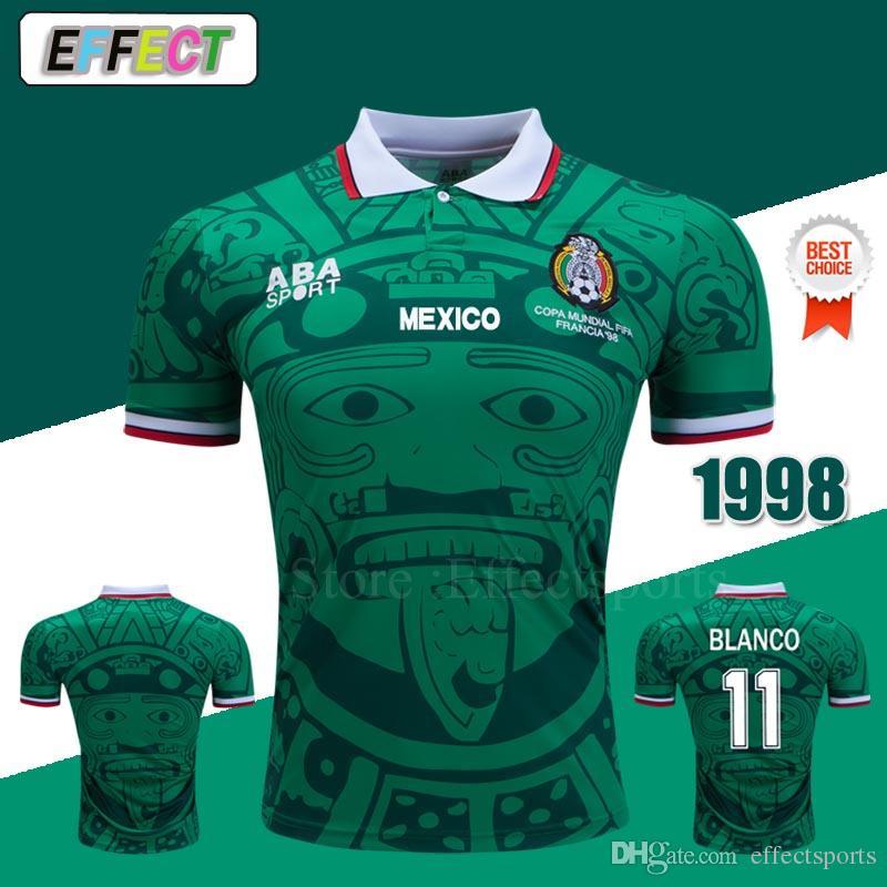 Thaïlande Qualité Retro 1998 Mexique Coupe du Monde Coupe classique Jerseys de football Vintage Hernandez 11 # Blanco Home Green Elevé Blanc Football Shirts XXL