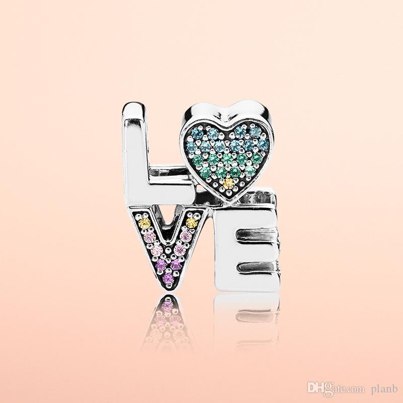 Autentico 925 argento sterling colore cristallo amore lettere charms scatola originale per pandora perline charms braccialetto gioielli