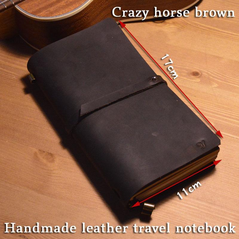soft leather journal travel notebook Handmade Vintage diary traveler cover refill 100g white paper Hand account Cowhide notepad