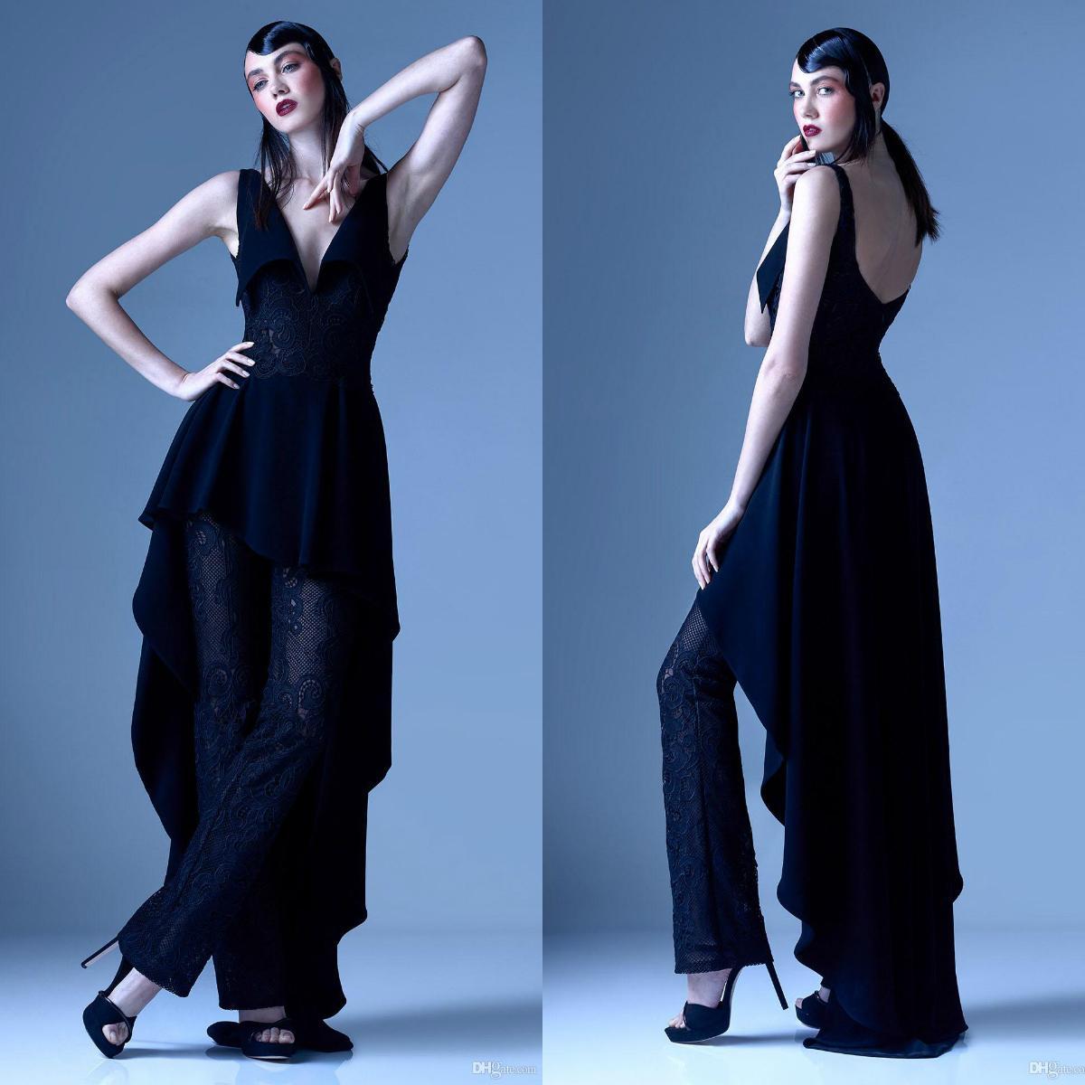 2020 Dark Navy Jumpsuits Prom Dresses Peplum V Neck Lace Appliqued Pants Dress Evening Wear Vintage Long Formal Party Gowns