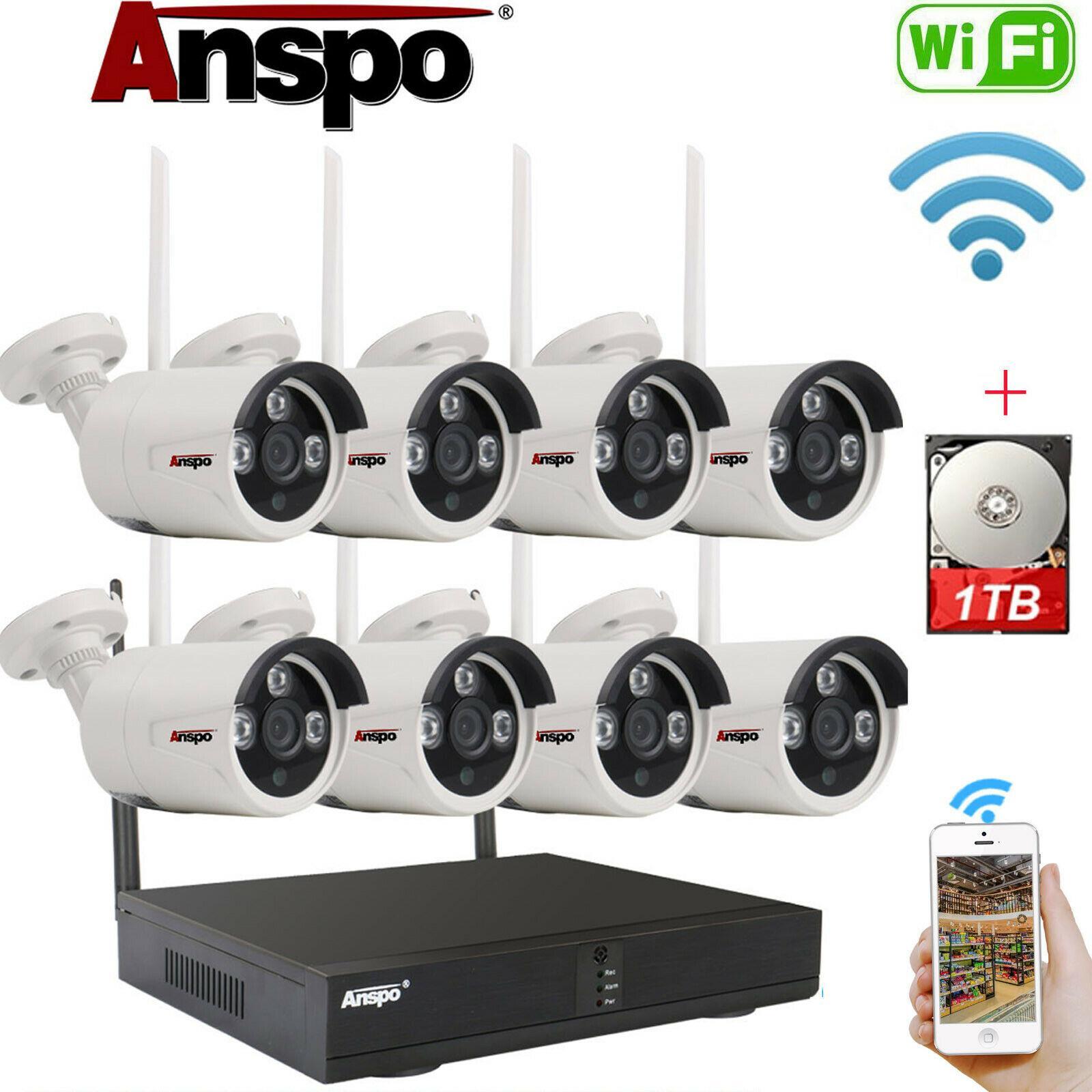 نظام كاميرا الأمن اللاسلكي 8CH HD 1080P 1TB HDD CCTV WIFI KIT NVR في الهواء الطلق