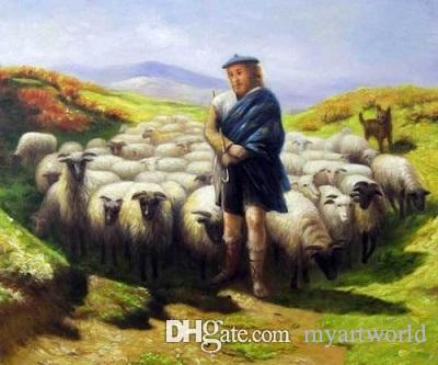 Çerçeveli Çoban Koyun Köpek Sürüsü Yeşil Yeşil Tepeler, Hakiki El Boyalı Modern Hayvan yağlıboya Tuval Müzesi Kaliteli Çok boyutu J65