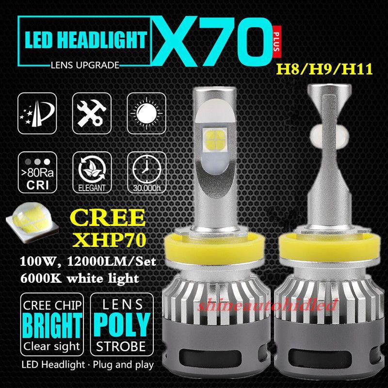 100W 12000LM 6000K Cree XHP70 ampoule LED kit de conversion de phare H4 H7 H8 / H9 / H11 9005 D2S D4S 9006 9012 auto moto phare antibrouillard