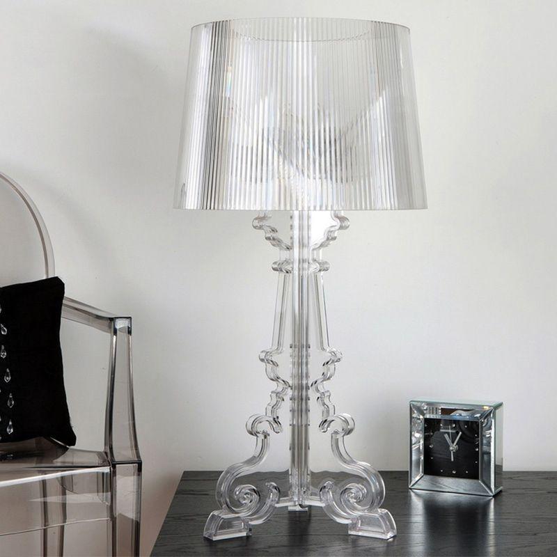 "French Acrylic Table Lamp 20"" High Accent Table Light LED Crystal Bedroom Nightstand Lamp Living Room US EU Plug E27"