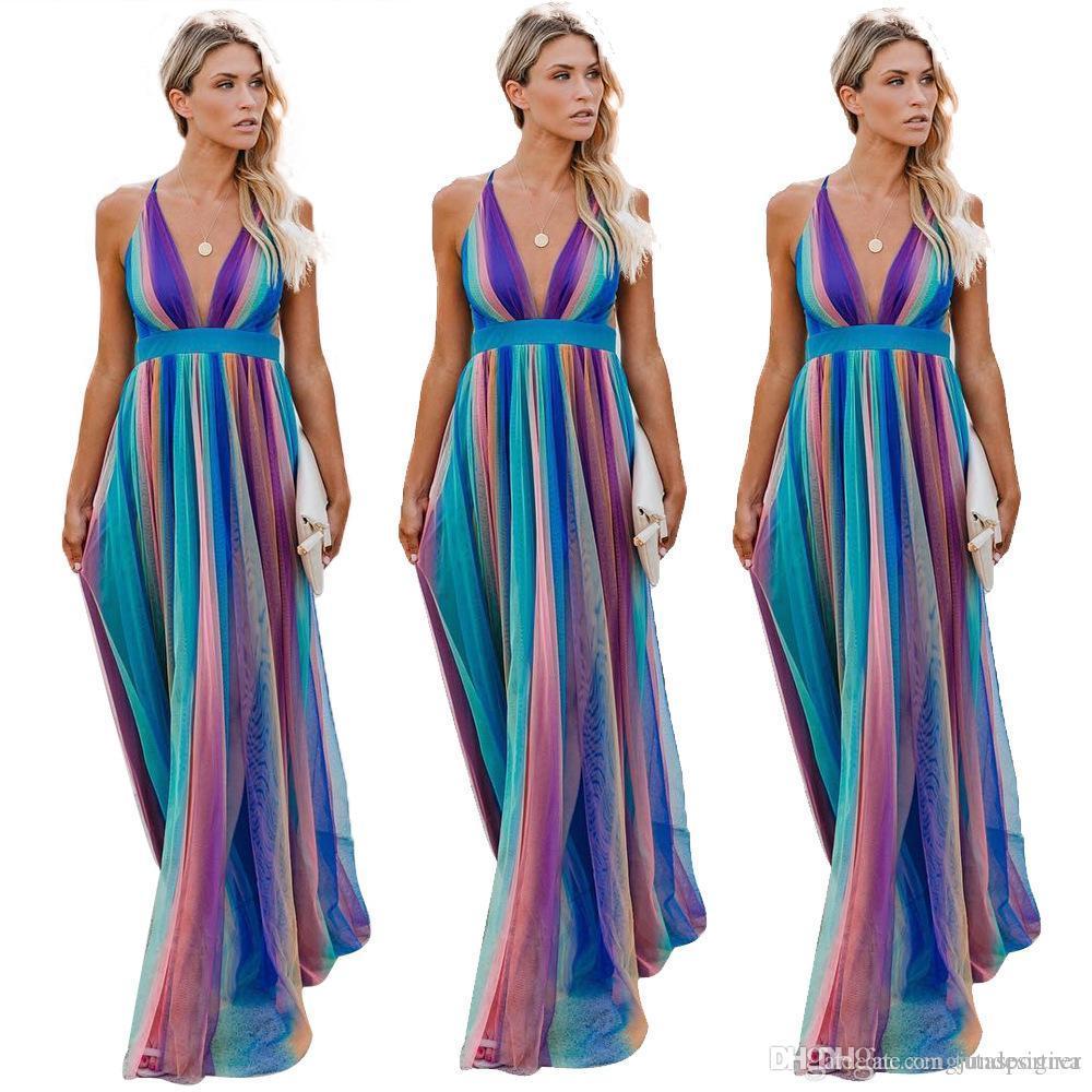 V Neck femmes Summer Designer Robes longues Spaghetti Strap Floarl Imprimer manches Femme Vêtements Longueur étage Style Fashion Apparel Casual