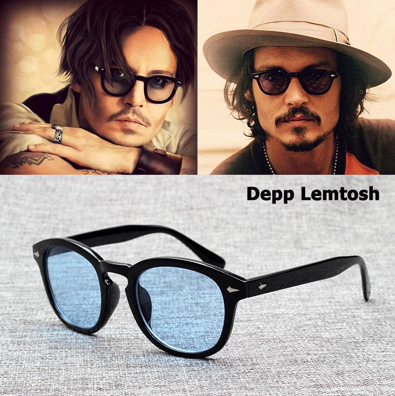 패션 조니 DEPP LEMTOSH 스타일 선글라스 빈티지 라운드 틴트 오션 렌즈 디자인 태양 안경 무료 배송