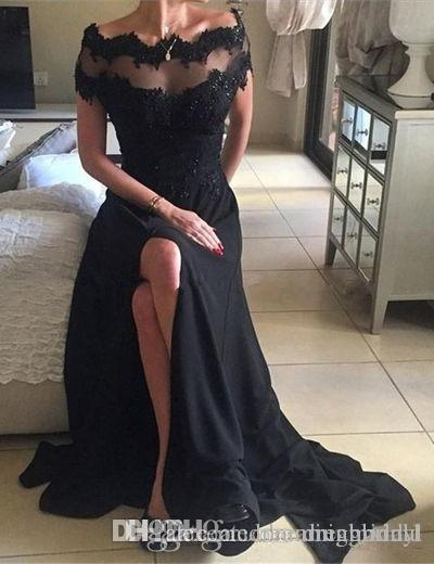 Black Beading Long Party Dresses Lace Short Sleeve Chiffon Prom Dresses Spit Side Scalloped Neck Evening Dresses For Gown