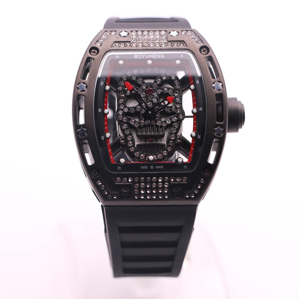 High Grade Analog Watch Diamante oco Out Boyuheng Quartz Mens Relógios Engrave Cabeça Crânio Transparente caso de volta de pulso com mãos verm