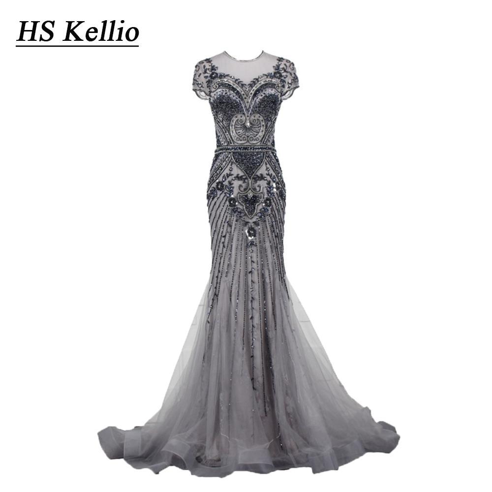 HS Kellio pesado frisado sereia vestido de noite de prata manga curta festa vestidos longos fotos reais