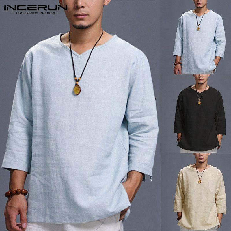 Elegante Mens Shirts Cotton manga três quartos dobrado estilo chinês V Neck Plain camiseta solta Tops Man Camisas Homens Roupa CJ200410