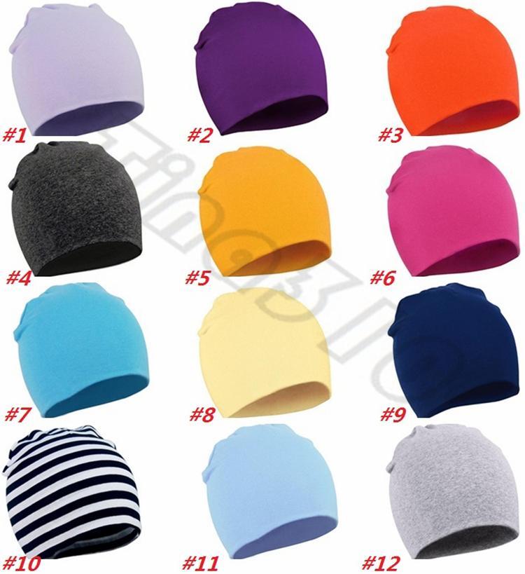 New Popular Children's Cap Baby's pure color Cap Autumn and Winter Children's hat Infant's cotton hat T6G6004