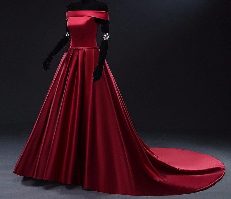 2020 de haute qualité robe de soirée en satin épais Bateau avec Nek train simple élégante longue robe de bal personnalisée fête officielle Robe du soir Nouveau