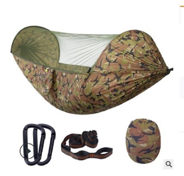 2020 heißen Verkauf Mode Hängematten Neue Art automatisches Schnellöffnungsmoskitonetz Hängematte im Freien Doppel Camping Fallschirm Tuch Nylon Hängematte