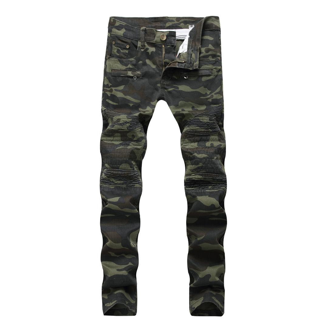 2019 New Patchwork Biker Jeans Men Camouflage Slim Fit Skinny Motocycle Denim Trousers Straight Washed Zipper Hip Hop Pants