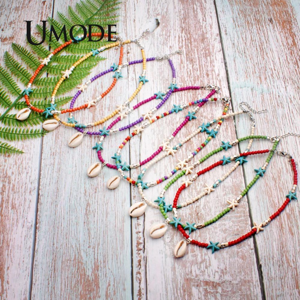 UMODE VSCO Girl Thing Gargantilla Boho Shell collar de estrellas colgantes de la manera Mujeres Accesorios Collares Declaración de Shiping PN0686