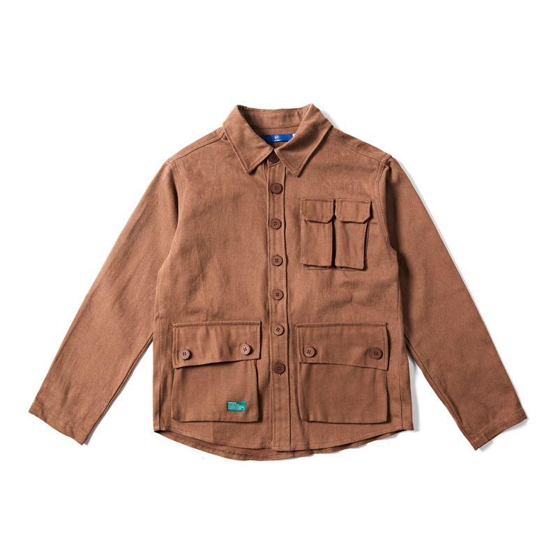 Outdoorwear 1990S Vintage Hommes Chemise Flock Veste Avec Poche Cargo Noir Blanc Kaki Rétro De Travail Chemises À Manches Longues Corvée Manteau