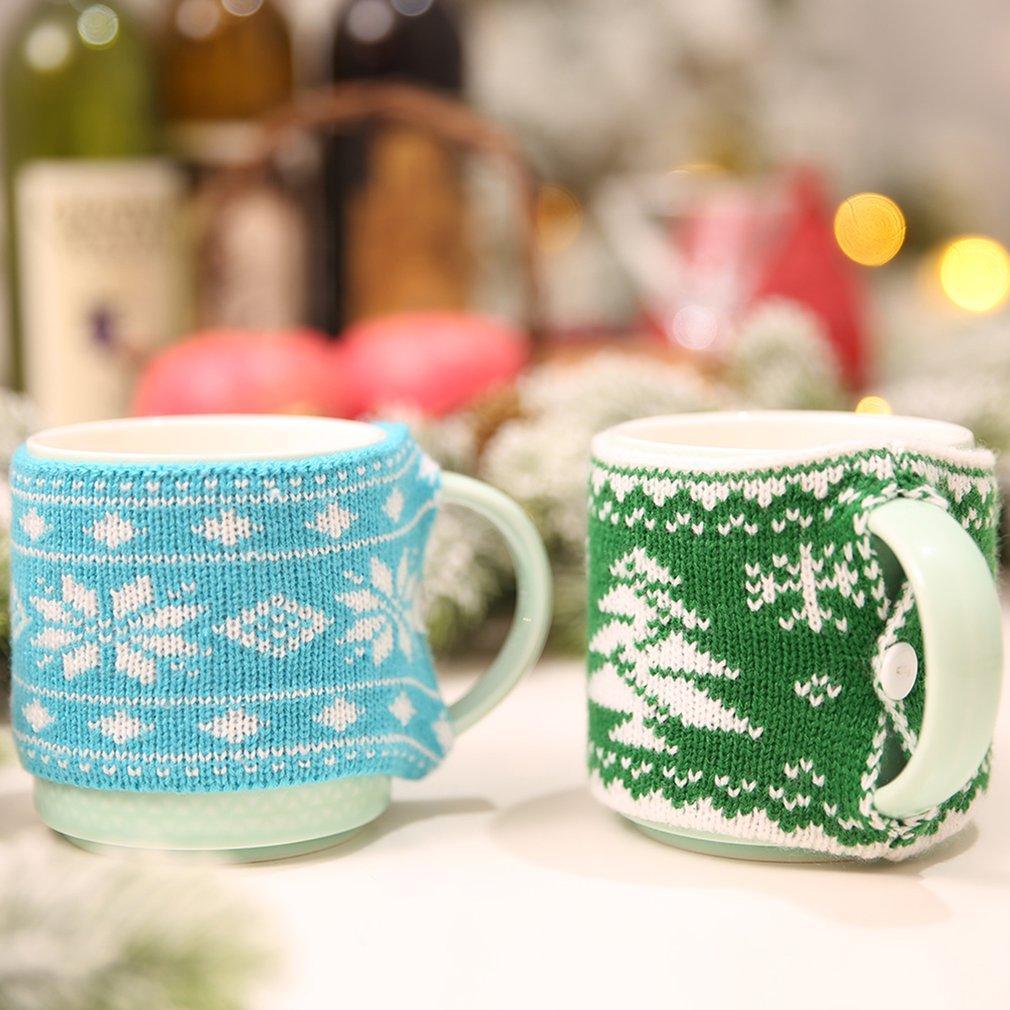 Neue Ankunfts-Weihnachtsdekoration für Haus Wolle Becher decken Weihnachtsbaum Snowflake Gestrickte Cup Abdeckung New Year Party Tischdekoration
