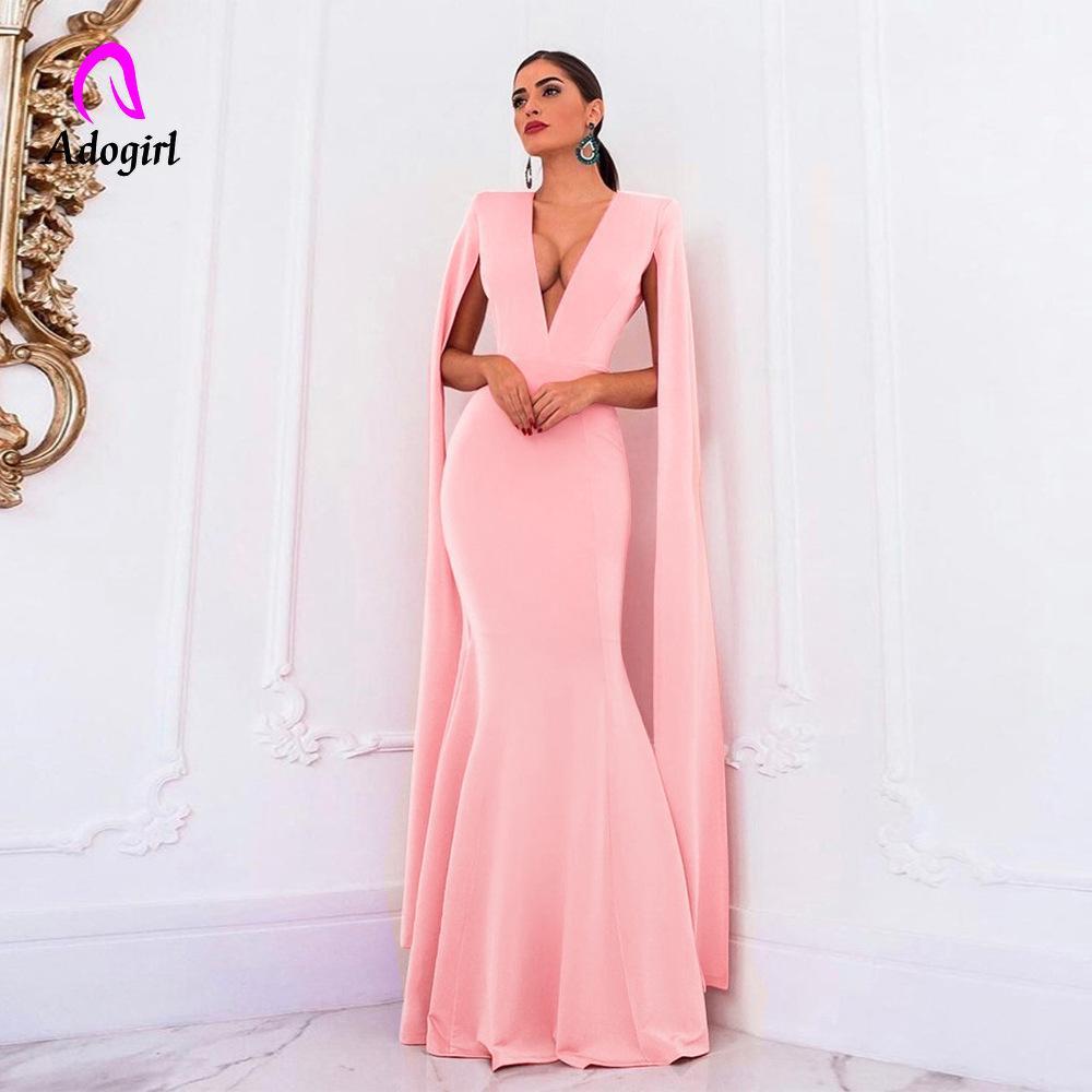 Adogirl rosa abito lungo le donne banchetti sera sera partito sirena vestito backless elegante impero bodycon formale puro maxi vestito vestito y200418