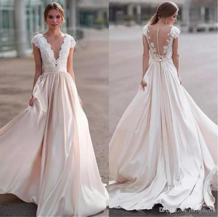 Stunning Luxury Lace Wedding Dresses Sheer Neck Cap Sleeves Satin Ribbon Illusion Back Country Wedding Gowns Beach Bridal Dresse M521