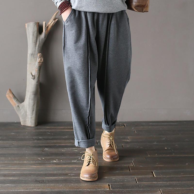Pantaloni Johnature donne lavorato a maglia di cotone 2019 New Spring elastico in vita del pantalone tasche Casual Donne Breve Vintage Harem Pants CJ191203