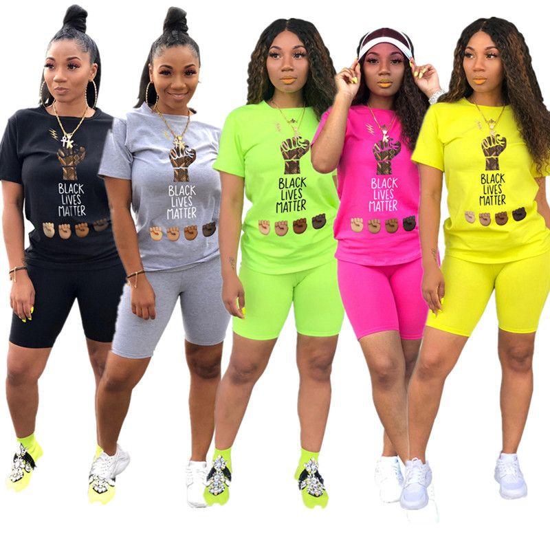 Модные женские шорты спортивный костюм Black Lives Matter Print O-образным вырезом с коротким рукавом футболка + шорты лето 2 шт наряды комфорт спортивная одежда S-2XL
