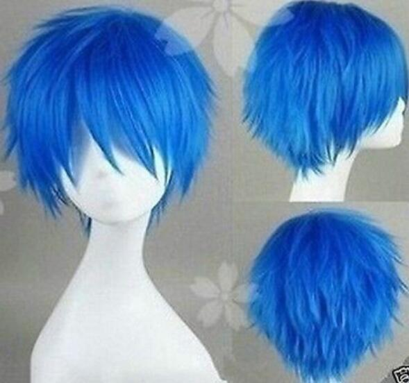 SHIPPIN GRATUITO + + CALDO !!! Breve Cosplay V casa KAITO Brother blu trasformato Alice parrucca
