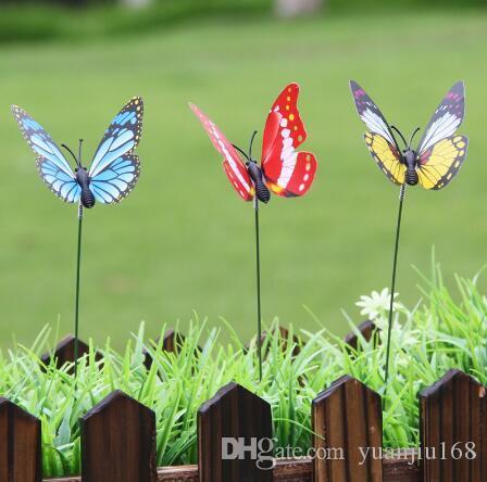 인공 나비 정원 장식 시뮬레이션 나비 말뚝 마당 식물 잔디 장식 가짜 Butterefly 랜덤 색상 GB959