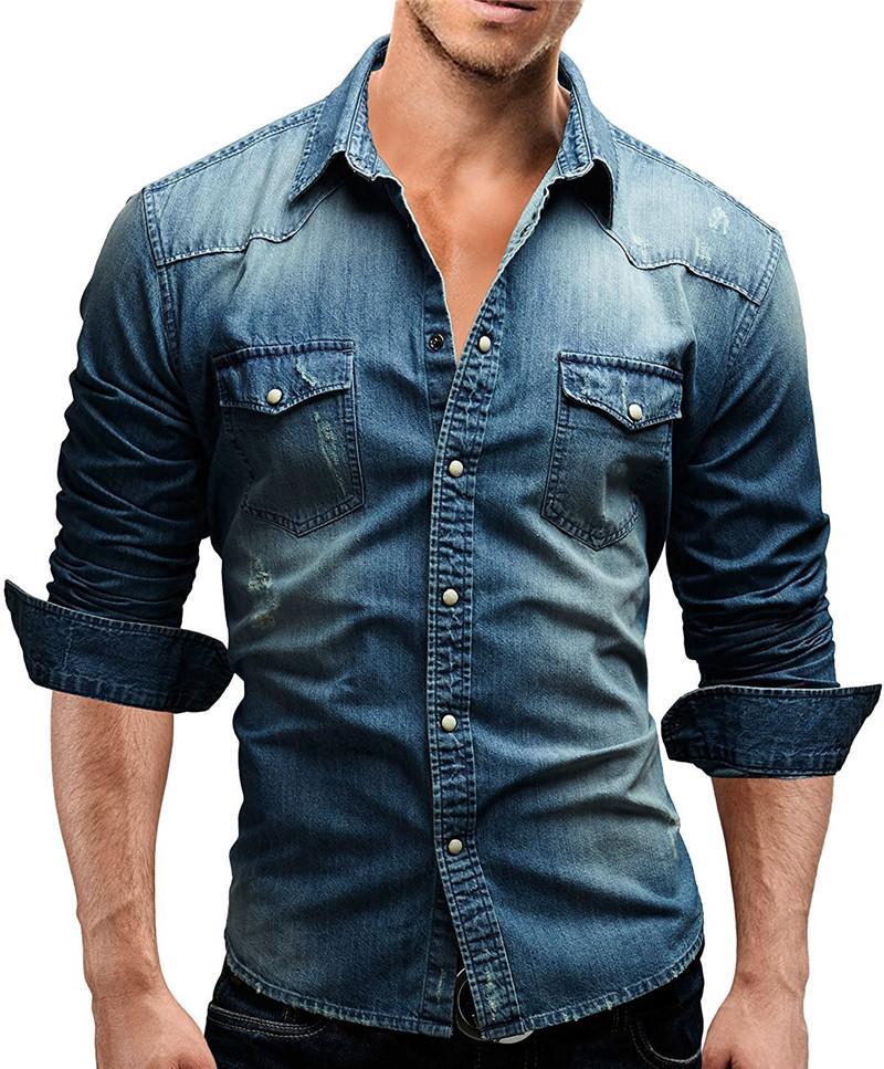 Denim Hommes T-shirts Designer Washed Poches Slim Casual manches longues revers Bouton cou Chemises Mode Hommes Chemises