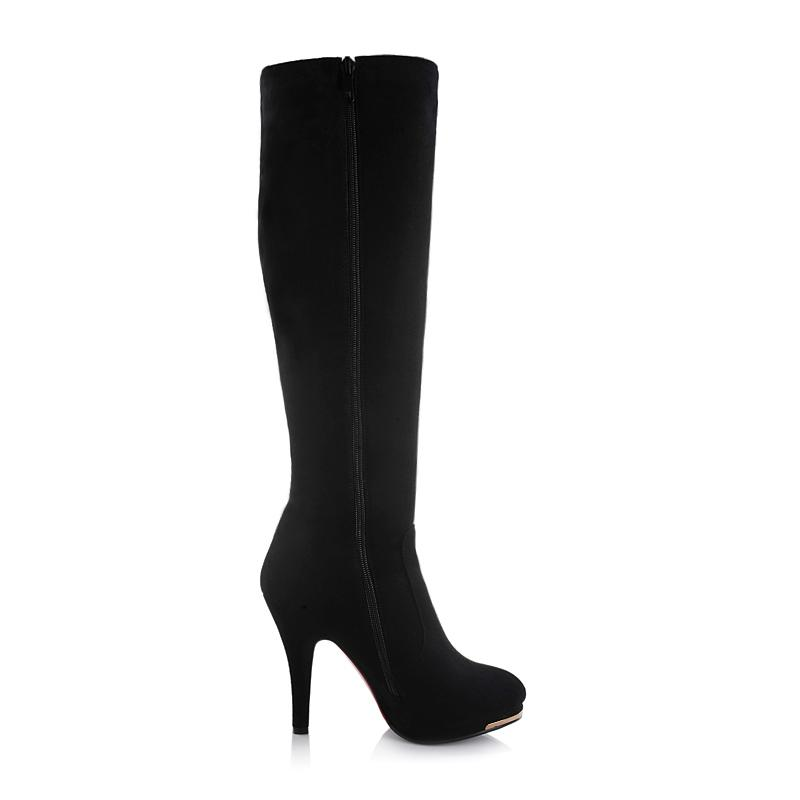 Quality Flock Women's Boots Fashion High Heels Knee High Boots Female Zipper Sexy beading Rose Embroider Brown Blue Shoes Woman