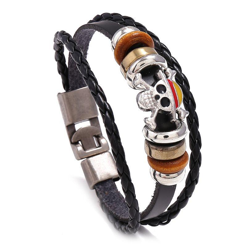Fashion Jewelry Leather Alloy Skull Cross Bracelet Men Casual personality PU Woven Beaded Bracelet Women Vintage Punk Bracelet
