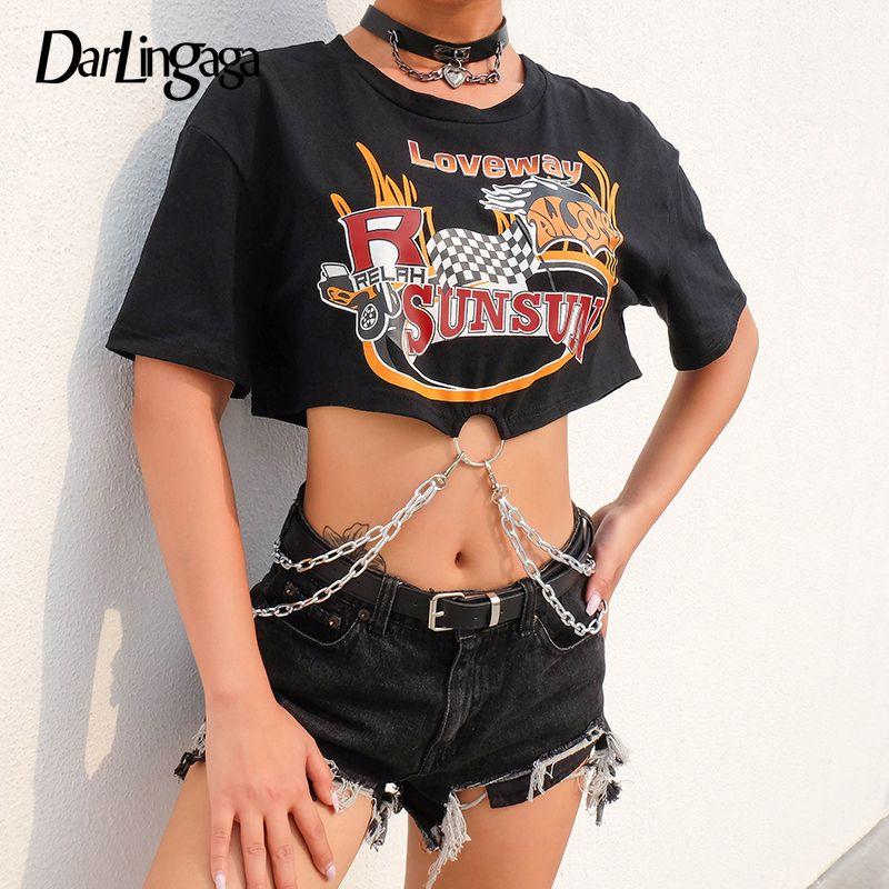 Darlingaga Streetwear Punk Black Tshirt Women Catene allentate Stampa Crop Top Tee Vestiti manica corta 2019 T-shirt estate ritagliate