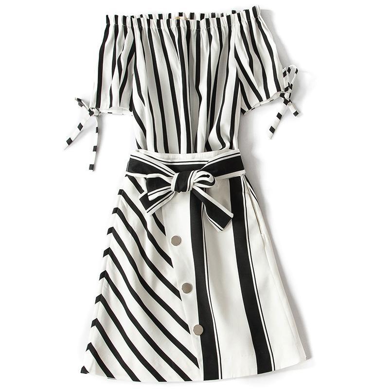 Amolapha Women Off Shoulder Slash Neck Striped Blouse+Irregular Single-breasted Sashes Skirts 2pcs Clothing Sets