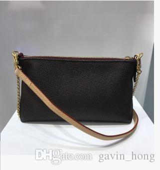 Envío de la manera del estilo de la calidad de Hight cuero genuino del diseñador del bolso de hombro de las mujeres de usos múltiples Oro Chian Bolsa 41638