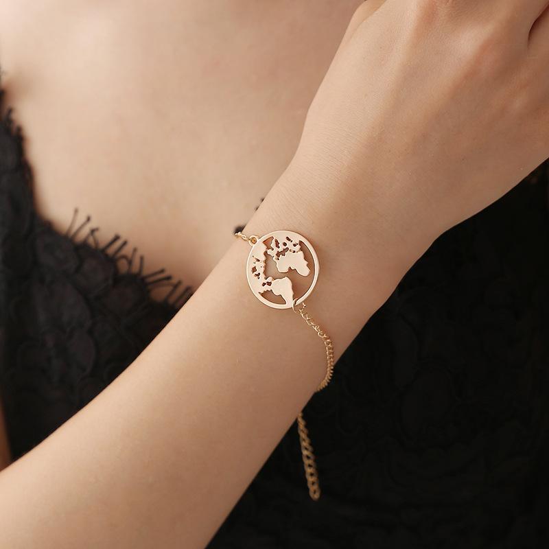 Мода Шарм карта мира стрейч регулируемый браслет элементы карты Ссылка браслет браслеты ювелирные изделия для женщин Девушки подарок